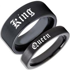 COI Black Tungsten Carbide King Queen Pipe Cut Ring-TG5146