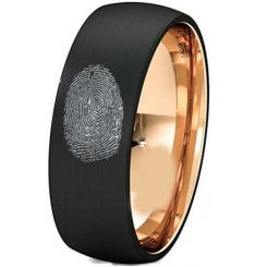 COI Tungsten Carbide Black Rose Custom Fingerprint Ring-TG5147