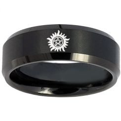 COI Black Tungsten Carbide Supernatural Beveled Edges Ring-5151