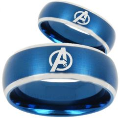 COI Tungsten Carbide Blue Silver Marvel Avengers Ring-TG5162