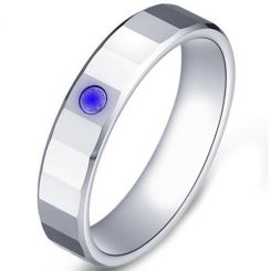 COI Tungsten Carbide Ring With Created Blue Sapphire-TG5176