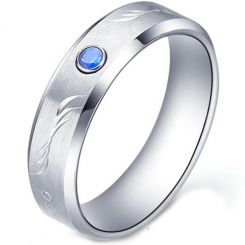 COI Tungsten Carbide Ring With Created Sapphire-TG5177