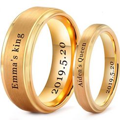 COI Gold Tone Tungsten Carbide King Queen Ring With Custom Engraving-TG5201