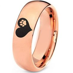 COI Rose Tungsten Carbide Heart Paws Dome Court Ring-TG5204