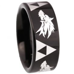COI Black Tungsten Carbide Legend of Zelda Wolf Pipe Cut Flat Ring-TG5211