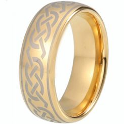 COI Gold Tone Tungsten Carbide Celtic Dome Court Ring - TG5215