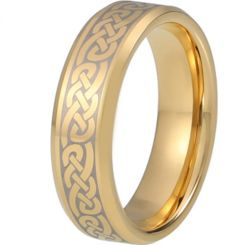 COI Gold Tone Tungsten Carbide Celtic Beveled Edges Ring - TG5217