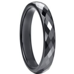 COI Black Tungsten Carbide 4mm Faceted Wedding Band Ring-5264