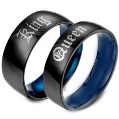 *COI Tungsten Carbide Black Blue King Queen Dome Court Ring-5458