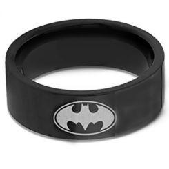 *COI Black Titanium Batman Pipe Cut Flat Ring-676