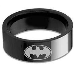 COI Black Titanium Batman Pipe Cut Flat Ring-676