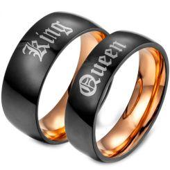*COI Tungsten Carbide Black Rose King Queen Ring-TG679
