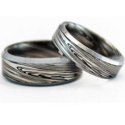 COI Tungsten Carbide Black Silver Damascus Beveled Edges Ring-TG729