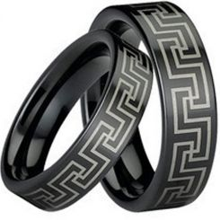 COI Black Tungsten Carbide Greek Key Pipe Cut Ring-TG752