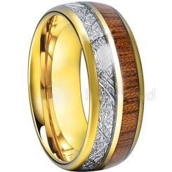 COI Gold Tone Tungsten Carbide Meteorite Wood Ring-TG793
