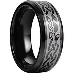 COI Black Tungsten Carbide Mo Anam Cara Celtic Ring-TG956