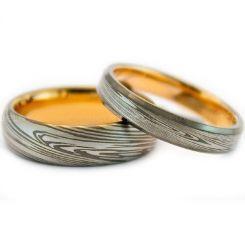 COI Tungsten Carbide Gold Tone Silver Damascus Ring-TG999