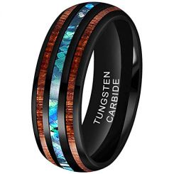 *COI Black Tungsten Carbide Abalone Shell & Wood Ring-TG3315