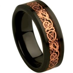 COI Black Tungsten Carbide Rose Dragon Beveled Edges Ring-TG4357