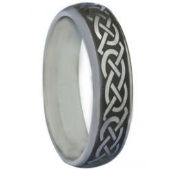 COI Titanium Black Silver Celtic Step Edges Ring-880