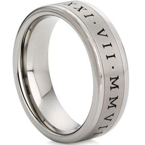 COI Tungsten Carbide Double Grooves Roman Numerals Ring-TG1105AA