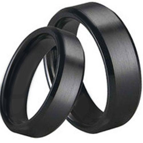 COI Black Tungsten Carbide Polished Shiny Matt Beveled Edges Ring-TG1645