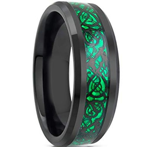 COI Tungsten Carbide Black Green Dragon Beveled Edges Ring-TG1841