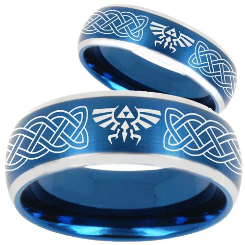 COI Tungsten Carbide Blue Silver Legend of Zelda Ring-TG1879