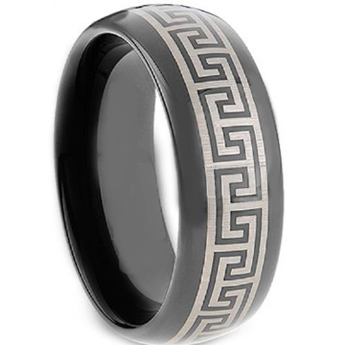 COI Black Tungsten Carbide Greek Key Dome Court Ring-TG2117