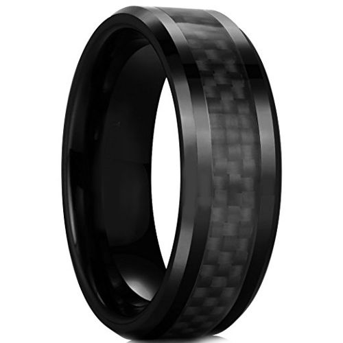 COI Black Tungsten Carbide Carbon Fiber Beveled Edges Ring-TG2289