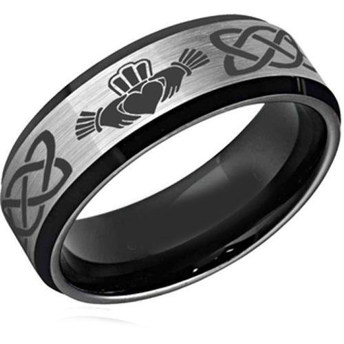 COI Titanium Black Silver Mo Anam Cara Celtic Ring-2589