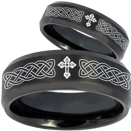 COI Black Tungsten Carbide Celtic Cross Step Edges Ring-TG2603BB