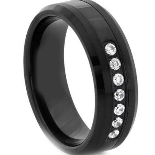 COI Black Titanium Beveled Edges Ring With Cubic Zirconia-2654