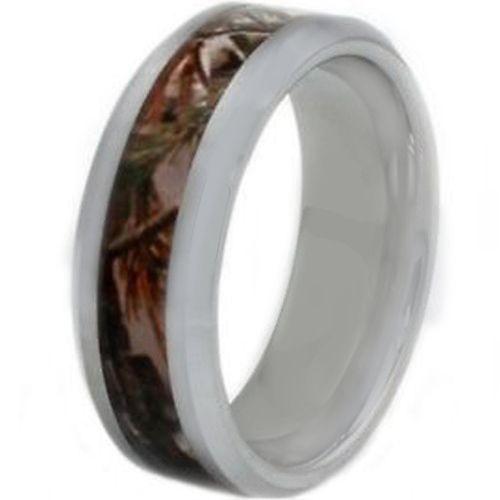 COI Tungsten Carbide Camo Beveled Edges Ring-TG3563