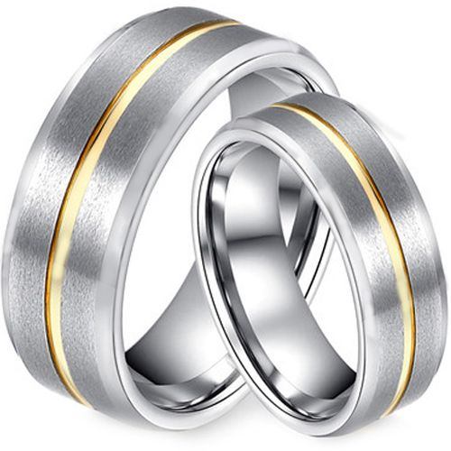 COI Tungsten Carbide Center Groove Beveled Edges Ring-TG2793