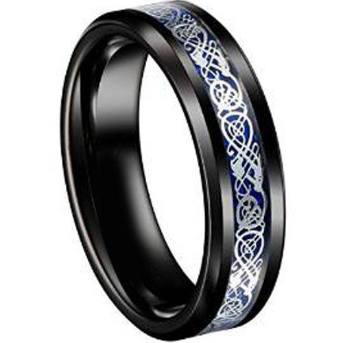 COI Tungsten Carbide Black Blue Dragon Ring With Carbon Fiber-TG4356