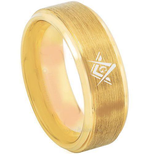 *COI Gold Tone Tungsten Carbide Masonic Step Edges Ring-TG3216