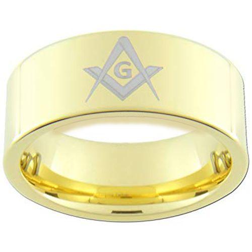*COI Gold Tone Tungsten Carbide Masonic Dome Court Ring-TG3312