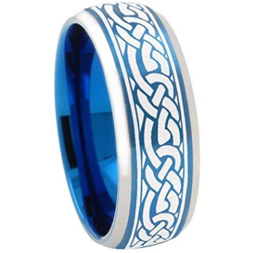 COI Tungsten Carbide Blue Silver Celtic Beveled Edges Ring-TG3357
