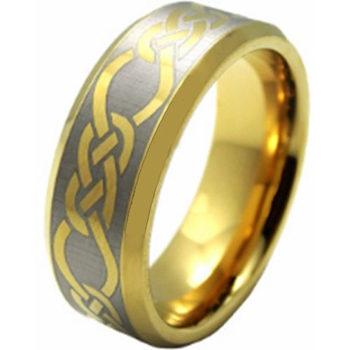 COI Tungsten Carbide Celtic Beveled Edges Ring-TG206AA
