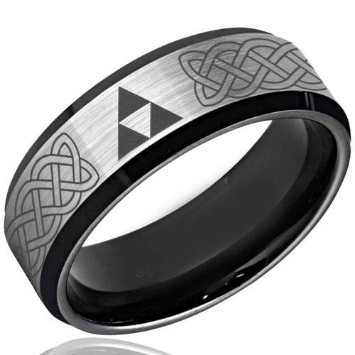 COI Titanium Black Silver Legend of Zelda Celtic Ring-3493