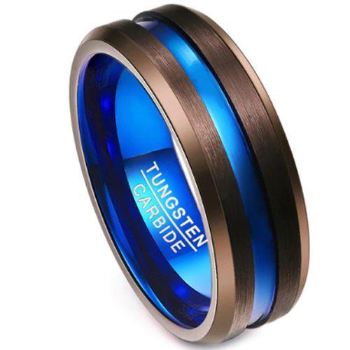 COI Tungsten Carbide Black Blue Center Groove Ring-TG3506