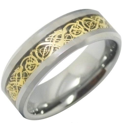 COI Titanium Gold Tone Silver Dragon Beveled Edges Ring-3513