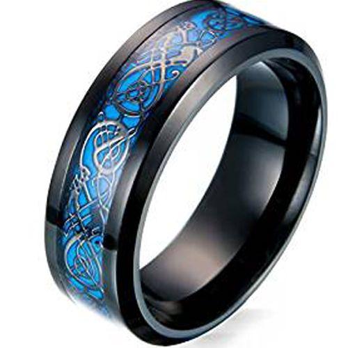 COI Titanium Black Blue Dragon Beveled Edges Ring-3551
