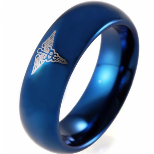 COI Blue Tungsten Carbide Medic Alert Dome Court Ring-TG4073