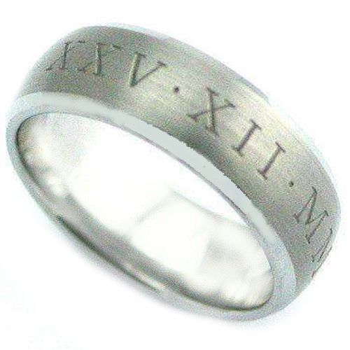 COI Tungsten Carbide Ring With Custom Roman Numerals-TG4076