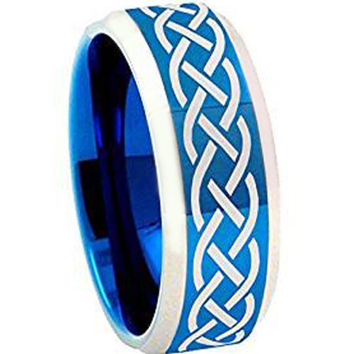 COI Tungsten Carbide Celtic Beveled Edges Ring-TG4258AA