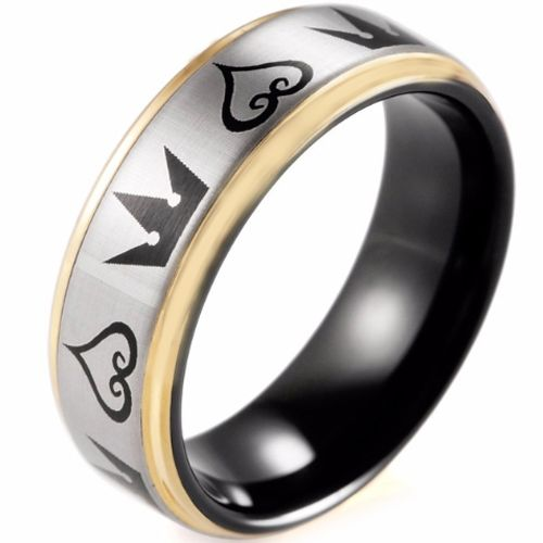 COI Tungsten Carbide Black Rose Kingdom & Heart Ring-TG4352