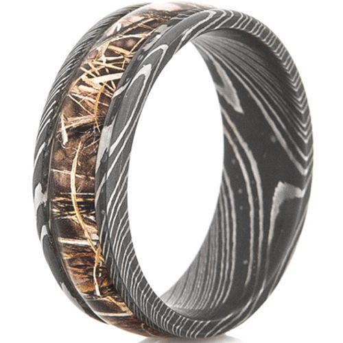 COI Black Tungsten Carbide Camo Damascus Ring-TG4565
