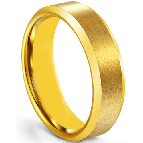 COI Gold Tone Tungsten Carbide 4mm Beveled Edges Ring-5266